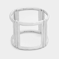 Hammered Metal Linear Cut Out Stretch Bracelet