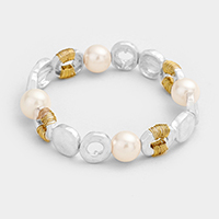 Hammered Metal Round Pearl Stretch bracelet