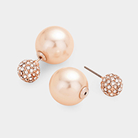 Pearl Pave Double Sided Stud Earrings