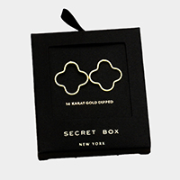 Secret Box _ 14K Gold Dipped Quatrefoil Stud Earrings