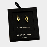 Secret Box _ 14K Gold Dipped Knot Stud Earrings