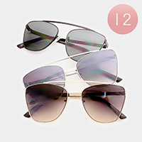 12 PCS - Oversized Metal Frame Sunglasses