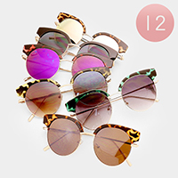 12 PCS - Oversized Metal Frame Pattern Sunglasses