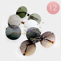 12 PCS - Oversized Clear Frame Sunglasses