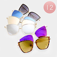 12 PCS - Oversized Mirror Sunglasses