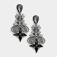 Floral Glass Crystal Evening Earrings