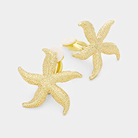 Textured Starfish Metal Clip on Earrings
