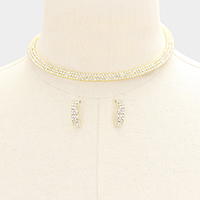 3Lines Mini Rhinestone Pave Choker Necklace