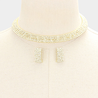 5Lines Mini Rhinestone Pave Choker Necklace