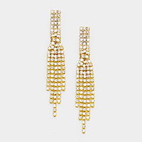 Pave Rhinestone Crystal Fringe Marquise Earrings