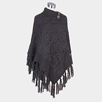 Soft Knit Turtleneck Button Fringe Tassel Poncho