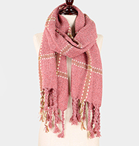 Plaid Tassel Oblong Scarf