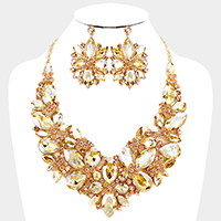 Floral Glass Crystal Marquise Evening Necklace