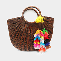 Straw Bag with Removable Tassel Decor