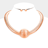 Omega Chain Half Metal Ball Necklace