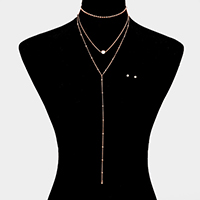 3 Layered Y-Shaped Choker Necklace
