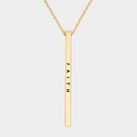 Faith Metal Bar Pendant Necklace