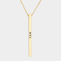 Mrs. Metal Bar Pendant Necklace