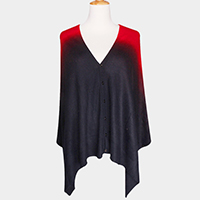 Ombre V Neck  Button Shawl