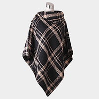 Plaid Soft Knit Buckle Poncho