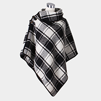 Checkered Turtleneck Buckle Poncho