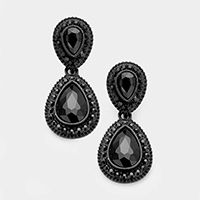 Pave Trim Double Glass Crystal Teardrop Evening Earrings