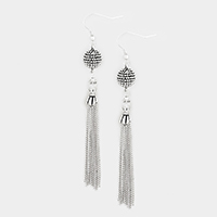 Embossed Metal Ball Drop Chain Tassel Earrings