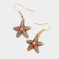 Metal Enamel Starfish Earrings
