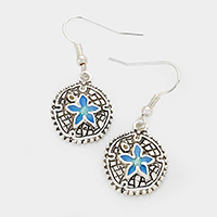 Metal Enamel Sand Dollar Earrings