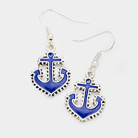 Metal Enamel Anchor Earrings