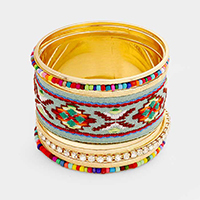 9 Layered Embroidery Beaded Metal Bangle Bracelet