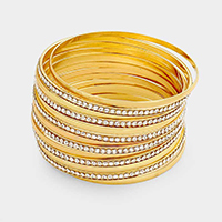 13 Layered Rhinestone Metal Bangle Bracelet