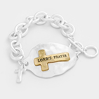 Lord's Prayer Cross Metal Link Toggle Bracelet