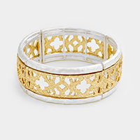 Two Tone Filigreed Quatrefoil Pattern Stretch Bracelet