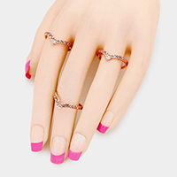 3 PCS - Embossed Metal V Shape Rings