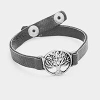 Faux Leather Filigree Tree of Life Snap Button Bracelet
