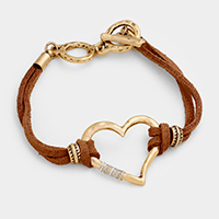 Suede Wire Wrapped Metal Heart Toggle Bracelet