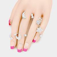 5 PCS - Rhinestone Moon Star Tip Cuff Rings
