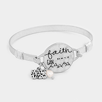 Faith Can Move Lettering Pearl Charm Metal Hook Bracelet