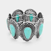 Embossed Teardrop Turquoise Stretch Bracelet