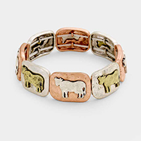 Cow Metal Square Stretch Bracelet
