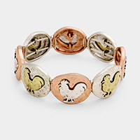 Rooster Metal Oval Stretch Bracelet