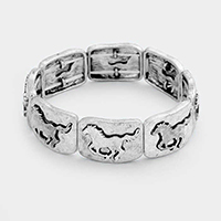 Horse Metal Square Stretch Bracelet