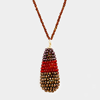 Beaded Bling Faceted Bead Teardrop Pendant Necklace
