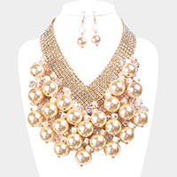 Crystal Rhinestone Fringe Cube Chunky Pearl Statement Necklace