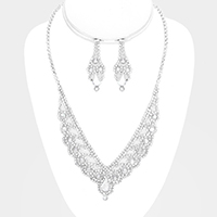 Pave Crystal Rhinestone V Collar Marquise Necklace