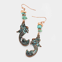 Semi Precious Bead Metal Mermaid Earrings