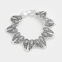 Embossed Wings Metal Magnetic Bracelet