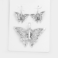 Filigree Butterfly Cross Pendant Set