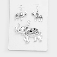Filigree Elephant Cross Magnetic Pendant Set